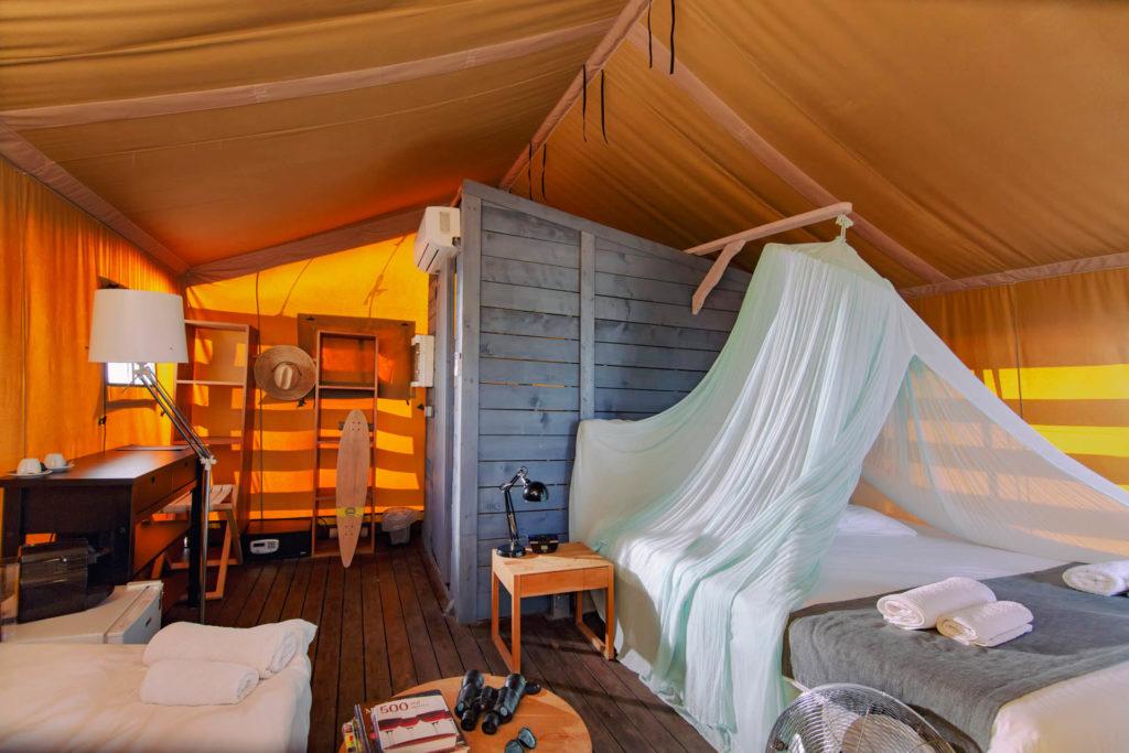 Large luxury safari tent interior photo