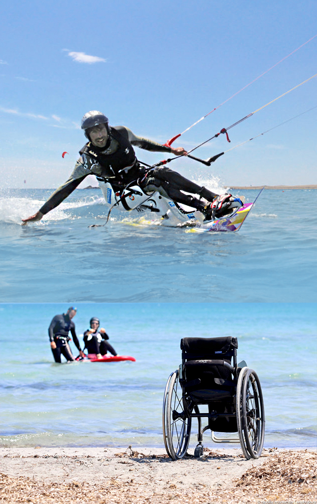 photo of kite surfer in wheel chair