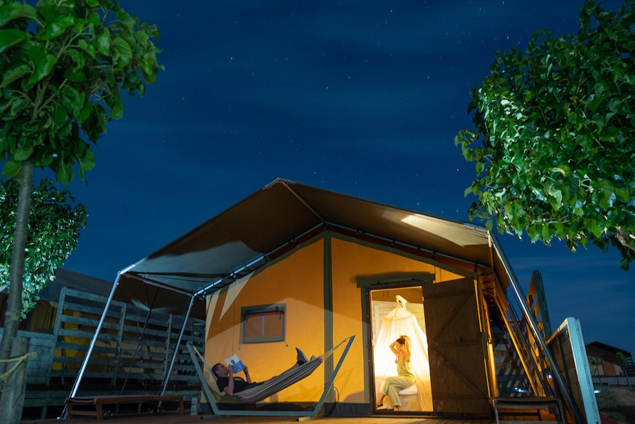 Large Safari tent night shot