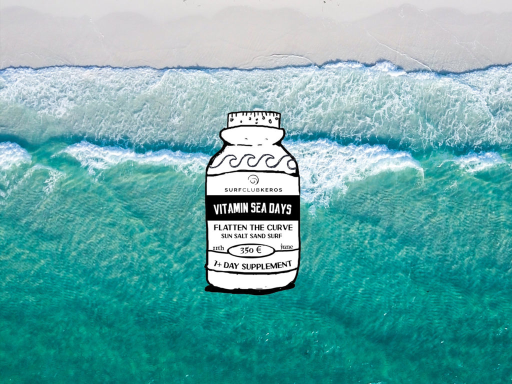 Vitamin Sea logo over areal keros beach photo